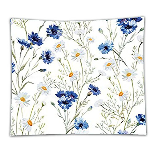 Beshowereb Fleece Throw Blanket Watercolor Flower Decor Collection Wildflowers Cornflowers Daisies Blooms and Buds Picture Print (Daisies Print Scrub)