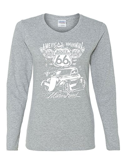 Route 66 America's Highway Long Sleeve T-Shirt The Mother Road Gray - Motorcycle 66 Route Americas Highway