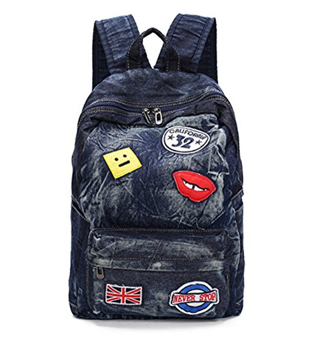 D-Sun Denim Canvas Shoulder Bag Student Fashion Casual Backpack Jean Bag with Patches (Style - Brand And G D