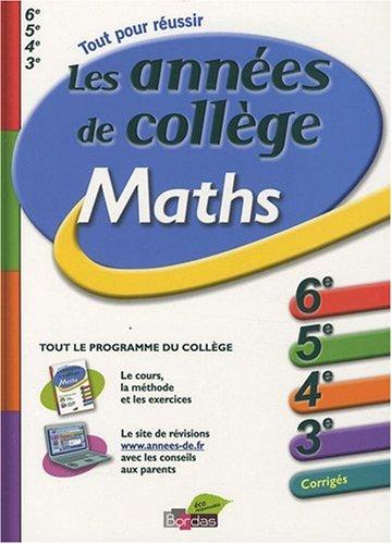 Maths : Les années de collège