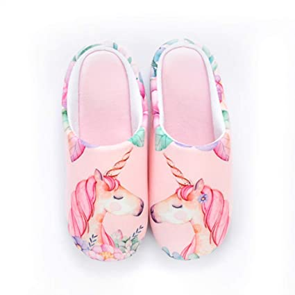 TOOSD flip flop Otoño Invierno Mujeres casa Zapatillas Lindo Unicornio Slip en Memoria Espuma casa Zapatillas