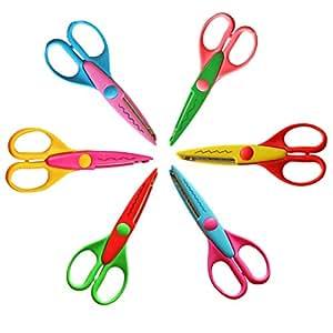 Binmer(TM)6 Pieces DIY Scissor Photo Album Handmade Kids Scissor for Wave Stamps Decorative School Children Craft classes Tools