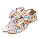 TeeNoke Fashion Ladies Thongs Flats Sandals Floral with Bowtie