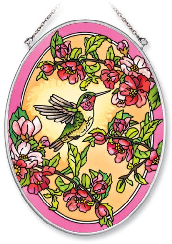 (Amia 5509 Medium Oval Suncatcher with Hummingbird and Cherry Blossom Design, Hand-painted Glass, 5-1/2-Inch W by 7-Inch)