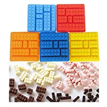 """Inn Diary Lego Chocolate Molds - Candy Mold (4.65"""" x 4.65""""), Ice Cube Molds Silicone Baking Molds (Set of 5)"""