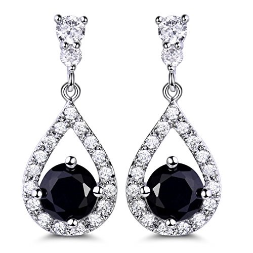 - GULICX Silver Plated Base Vintage Black Round Crystal Cubic Zirconia Dangle Drop Earrings Party Jewelry