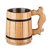 Beer Mug / Wooden Beer Mug / Tankard / Wood Mug By WoodenGifts - 0.6 Litres Or 20oz Wooden Mug - Wooden Coffee Mug with Stainless Steel Cup Inside (Beige)
