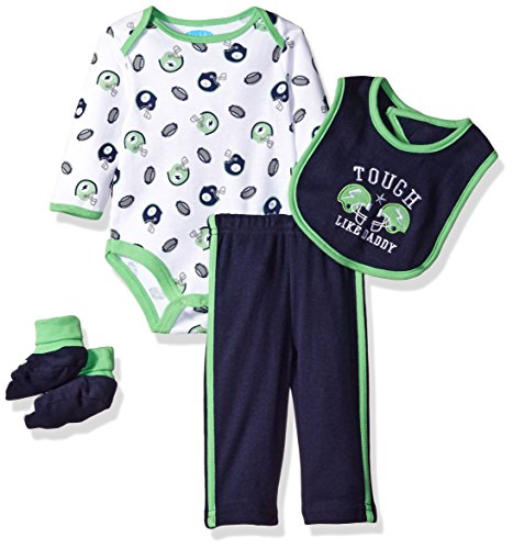 BON BEBE Boys' 4 Piece Pant Set with Bib Bodysuit and Booties, Tough Like Daddy Green, 6-9 Months