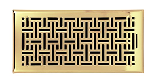 Gold Accord (Accord Ventilation AMFRPBB612 Wicker Design Floor Register, Polished Brass, 6