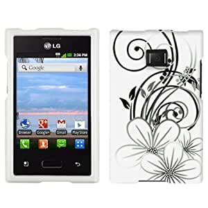 LG Optimus Dynamic Black White Flower on White Hard Case Phone Cover