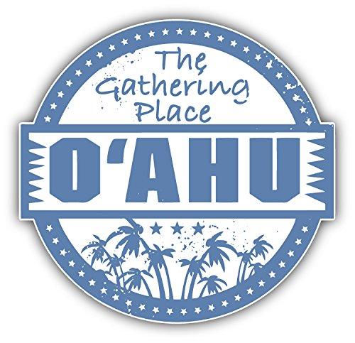 Oahu Hawaii Island Grunge Travel Stamp Car Bumper Sticker Decal 5' X 5' Paradice