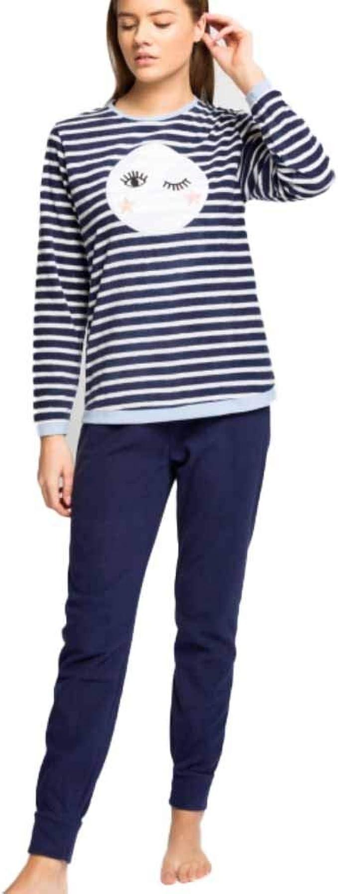 GISELA Pijama de Mujer Micropolar 2/1618 - Azul, S: Amazon.es ...