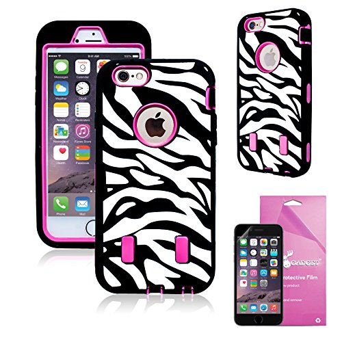 Zebra Kitty (iPhone 6 Plus Heavy Duty Case Kitty, EpicGadget(TM) Black Pink Zebra Pattern with Built-In Screen Protector High Impact Rubber Armor Hybrid Hard Case Cover For Apple iPhone 6 Plus [5.5] + HD Clear iPhone 6 5.5 Screen Protector (US Seller!!) (Black Pink Zebra Pattern))