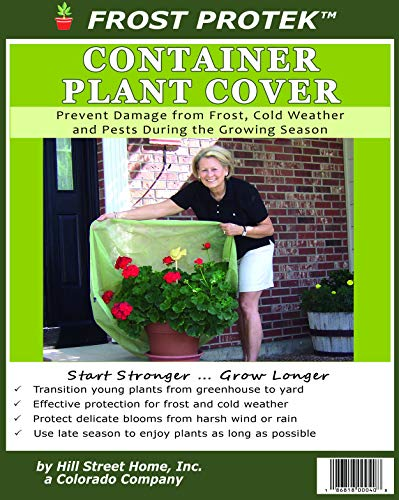 Frost Protek Plant Cover for Containers -Transition from Greenhouse -Drawstring -Garden Fabric for Protection and Insulation -42″ High