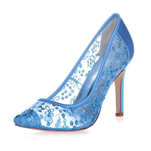 Elegant high shoes0608-25 Weibliche High Heel Spitze Closed Toe Lace Pump Hochzeit Plattform Satin Gericht Schuhe Blue