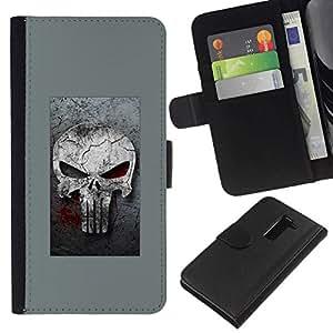 All Phone Most Case / Oferta Especial Cáscara Funda de cuero Monedero Cubierta de proteccion Caso / Wallet Case for LG G2 D800 // GRAY PUNISH SKULL