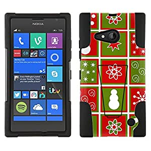 Microsoft Lumia 735 Hybrid Case Red and Green Squares Pattern 2 Piece Style Silicone Case Cover with Stand for Nokia Lumia 735