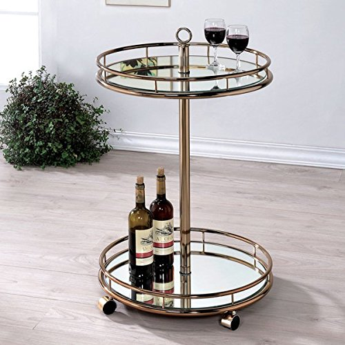 Furniture of America Odetta Contemporary Champagne 2-shelf Mirrored Serving Cart