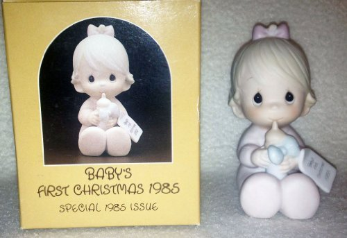 Precious Moments Figurine - Baby's First Christmas -1985 Girl With Bottle #15547