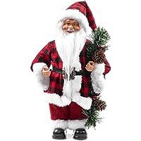 Papai Noel Decoracao Natalina Boneco Decorativo Enfeite de Natal 30 cm Casaco Xadrez Vermelho