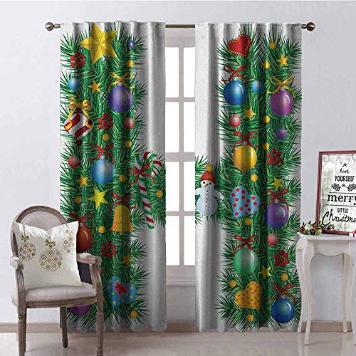 GloriaJohnson Letter H Blackout Curtain Uppercase Letter H Pine Tree Pattern with Christmas Celebration Theme Stars Image 2 Panel Sets W42 x L90 Inch Multicolor
