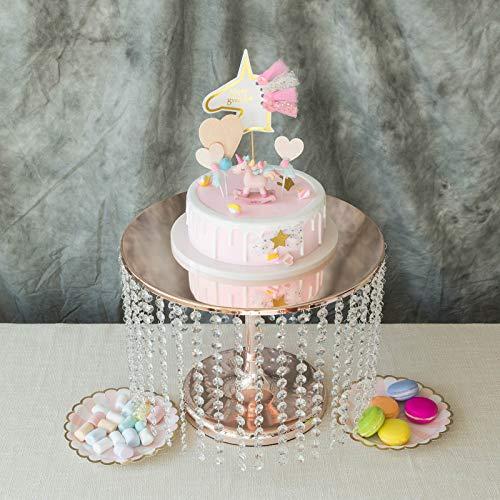 Efavormart Rose Gold Crystal Pendants Metal Chandelier Cake Stand Dessert Display Plate - 12