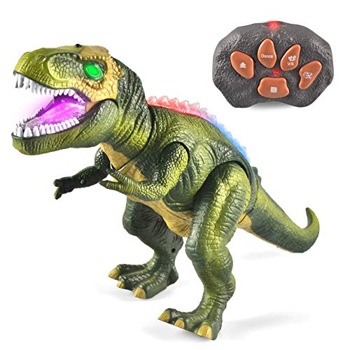JOYIN LED Light Up Remote Control Dinosaur Walking and Roaring Realistic T-Rex Dinosaur Toys with Glowing Eyes, Walking Movement, Shaking Head For Toddlers Boys Girls -