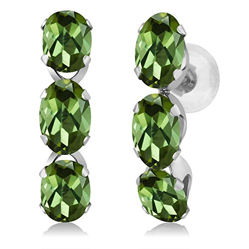 Gem Stone King 3.00 Ct Oval Green Tourmaline 14K White Gold Earrings