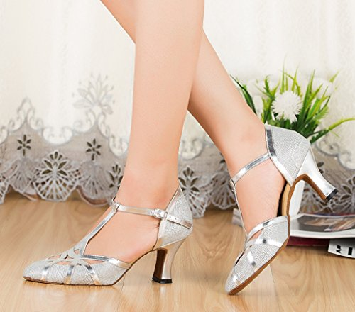 CRC Womens Stylish Round Toe Glitter Material Synthetic Ballroom Morden Salsa Latin Tango Party Wedding Professional Dance Shoes Silver NaG3N3