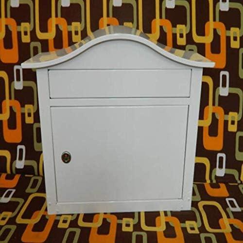 ZXPzZ-メールボックス 外郵便受け、亜鉛メッキスチール防水設計郵便受け壁掛けポストボックス、メールボックス、ロック可能なレターボックス、耐候性 -メール収集 (Color : White)