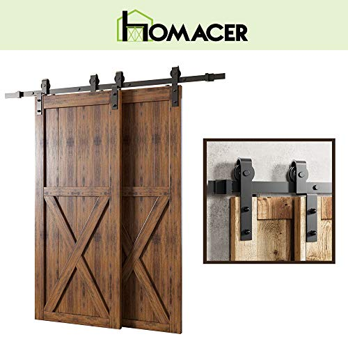 Homacer Sliding Barn Door Hardware Single Track Bypass Double Door Kit, 10FT Flat Track Classic Design Roller, Black Rustic Heavy Duty Interior Exterior Use
