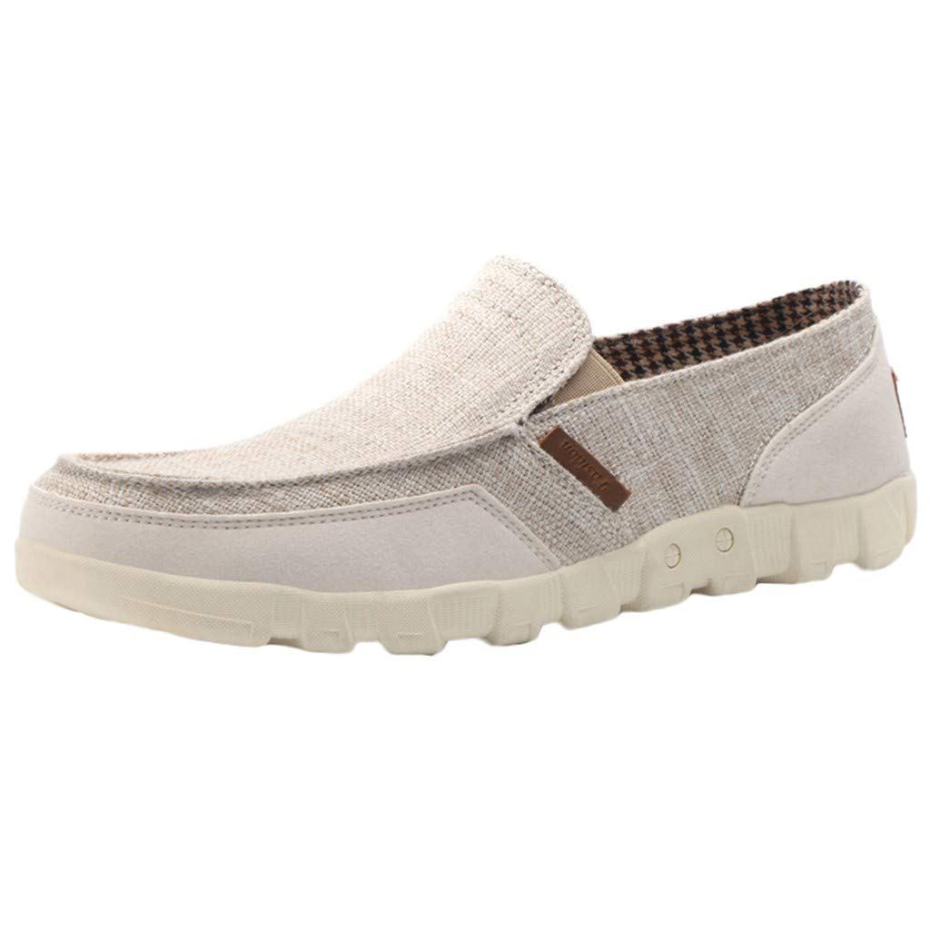 Men's Canvas Loafers Slip On Flats Driving Shoes Outdoor Casual Runing Walking Shoes Wear-Resistant Oxford Sneakers (US:9.5, Khaki)