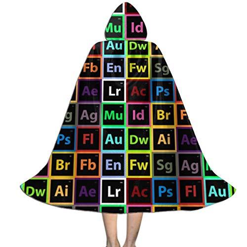 Unisex Neon Periodic Table Print Hooded Cloak