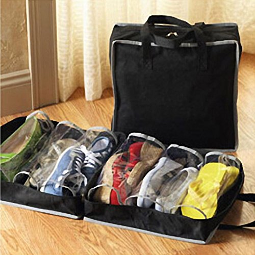 Ikevan 1PC Portable Shoes Travel Storage Bag/Cabinet Storage Bag Organizer Tote Luggage Carry Pouch Holder, 2 Colors (Black)