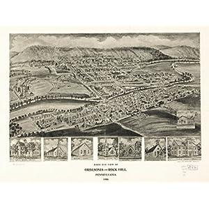 1906 map Orbisonia & Rock Hill, Pennsylvania Birds eye view of Orbisonia and Roc