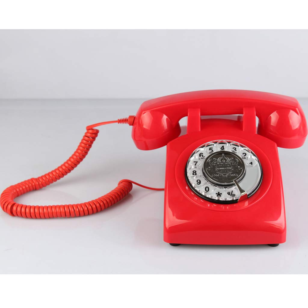 Old Fashioned Classic Corded Telephone Vintage Landline Phone for Home and Office Baoblaze Retro Rotary Dial Home Phones red