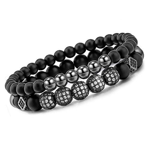 Meangel 8mm Charm Beads Bracelet for Men Women Black Matte Onyx Natural Stone Beads, -