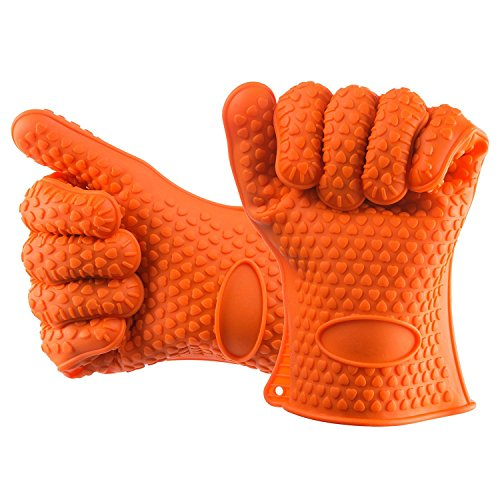 AVIRGO Griller Heat Resistant BBQ Smoker Grill Oven Fishing and Cooking Gloves Silicone Oven Mitts - 1 Pair Potholder Gloves Set of 2 Orange