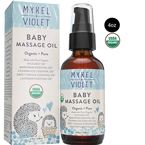 Mykel + Violet - 100% USDA Certified Organic Baby Massage Oil, Calming Blend, Moisturizes Newborn Baby's Delicate Skin, Made with Avocado oil, Lavender oil and other Organic Essential Oils