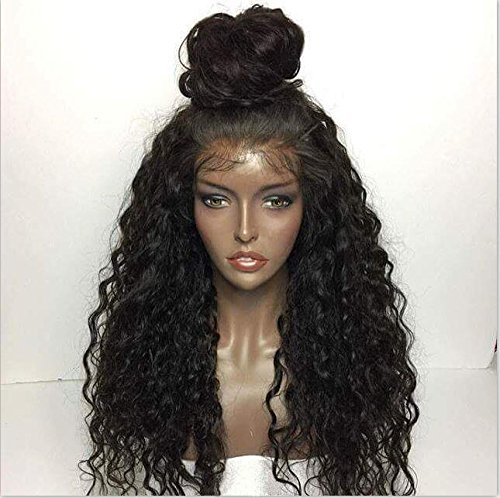 Miss diva Loose Curly Lace Human Hair Wigs-Glueless Brazilian Virgin Wigs with Baby Hair For African Americans Natural Color 130% Density (22 Inch, Full Lace Wig)