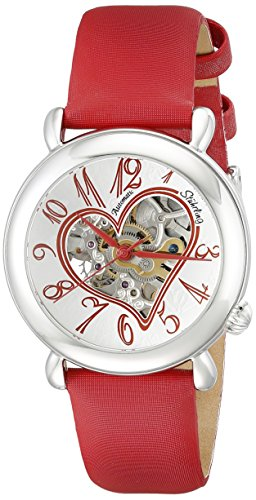 Stuhrling Original Women's 109.1215H2 Amour Aphrodite Cupid II Automatic skeleton Red Leather Watch