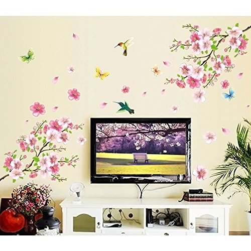 (LiveGallery Pink Cherry Blossom Tree with Butterfly Vinyl Art Wall Decal Pink Cherry Blossom Tree Wall Decal, Flower Floral Wall Sticker with Butterfly, Vinyl Art Wall Decal, Wall Decal Mural)