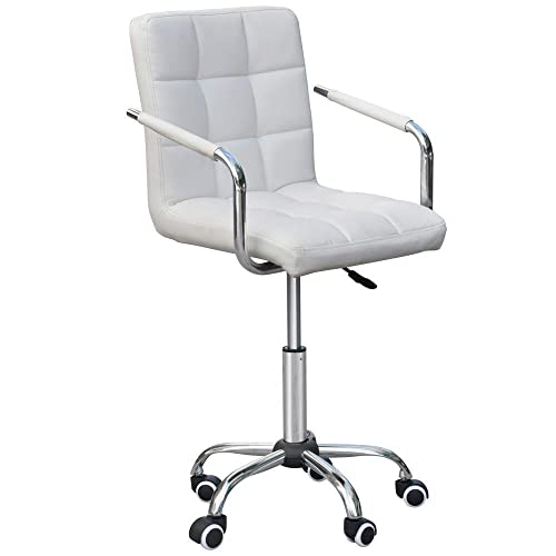 Popamazing White Faux Leather Swivel Computer Desk Chair Adjustable Gas Lift Stool Home Office Study Room Furniture