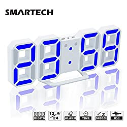 Digital Alarm Clock with USB Charging, Jumbo 3D Digits, Snooze for Heavy Sleeper, 3 Levels of Brightness, Dimmable Night Light, Modern Alarm Clock for Living Room Decor, Office, Hotel (White/Blue)