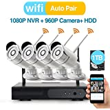 [Better Than 720P] Video Security System 4 Pack- HD 960P WiFi IP Cameras and 1080P NVR with 1TB HDD (WIFI NVR Kits) Smart WiFi Wireless Security Cameras System, IR Night Vision and Remote Access
