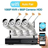 [Better Than 720P] Video Security System 4 Pack- HD 960P WiFi IP Cameras and 1080P NVR with 1TB HDD (WIFI NVR Kits) Smart WiFi Wireless Security Cameras System, IR Night Vision and Remote Access For Sale