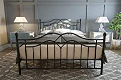 The DHP Tokyo Metal Bed is a tasteful welcome to any bedroom. The brushed metal frame and intricate lines provide a timeless look that is great for any modern décor. Its high profile headboard and low profile footboard topped with spindles cr...