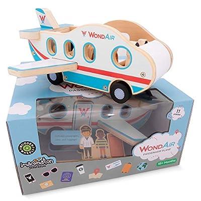 Imagination Generation WondAir Passenger Jet Playset | Wooden Airplane Children's Toy with Passengers, Pilots, Cabin Crew, & Luggage Accessories (11 pcs.): Toys & Games