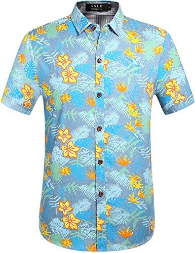 Blue Flower Curved - SSLR Men's Cotton Button Down Short Sleeve Hawaiian Shirt (Small, Blue (168-101))