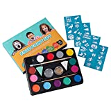 Unomor 14 Color Face Paint Kits for Kids with 40 Stencils, 2 Professional Sponges, 2 Brushes, 2 Glitters – Non Toxic & Hypoallergenic Face Painting Palette